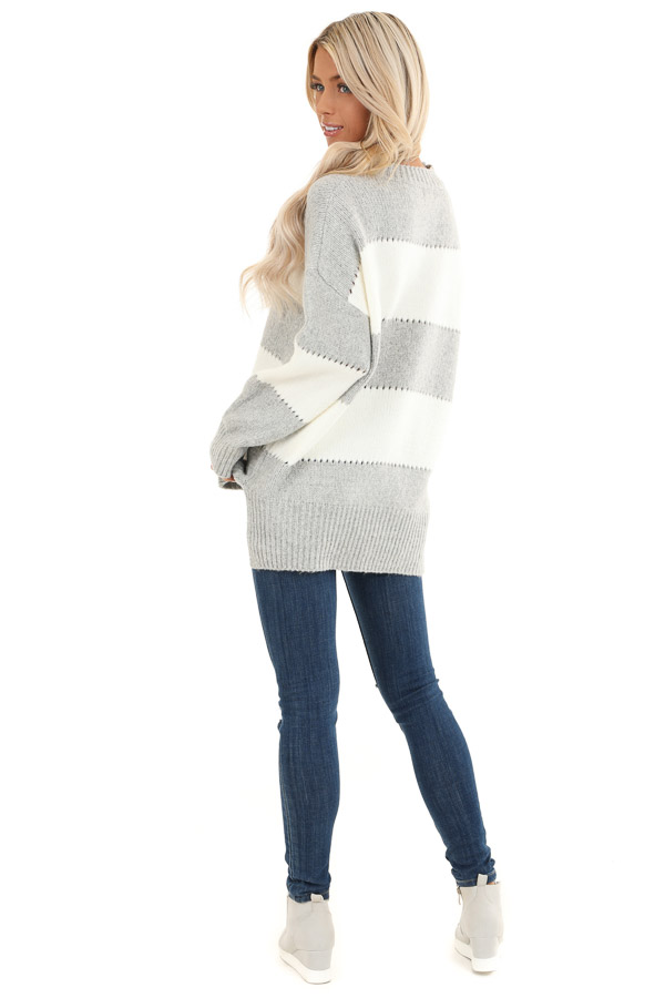Heather Grey Striped Long Sleeve Knit Sweater back full body