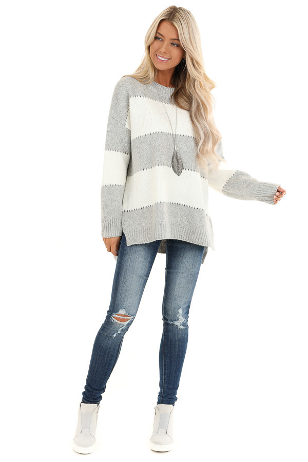 Heather Grey Striped Long Sleeve Knit Sweater front full body