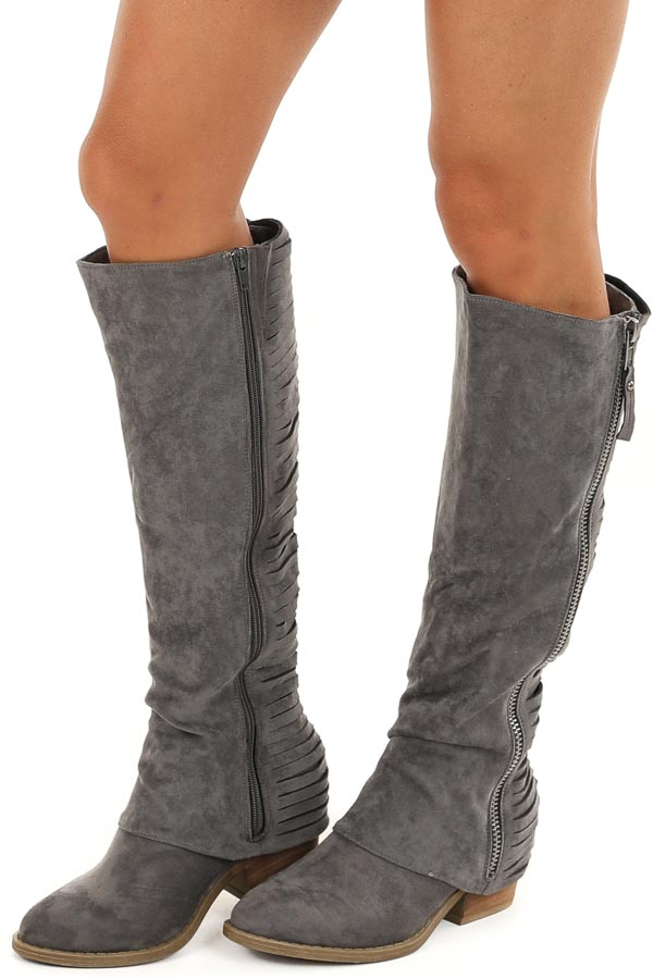 Charcoal Tall Faux Suede Heeled Boots with Stripped Details side view