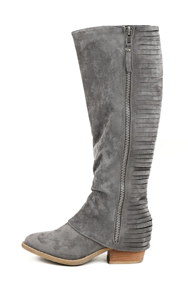 Charcoal Tall Faux Suede Heeled Boots with Stripped Details