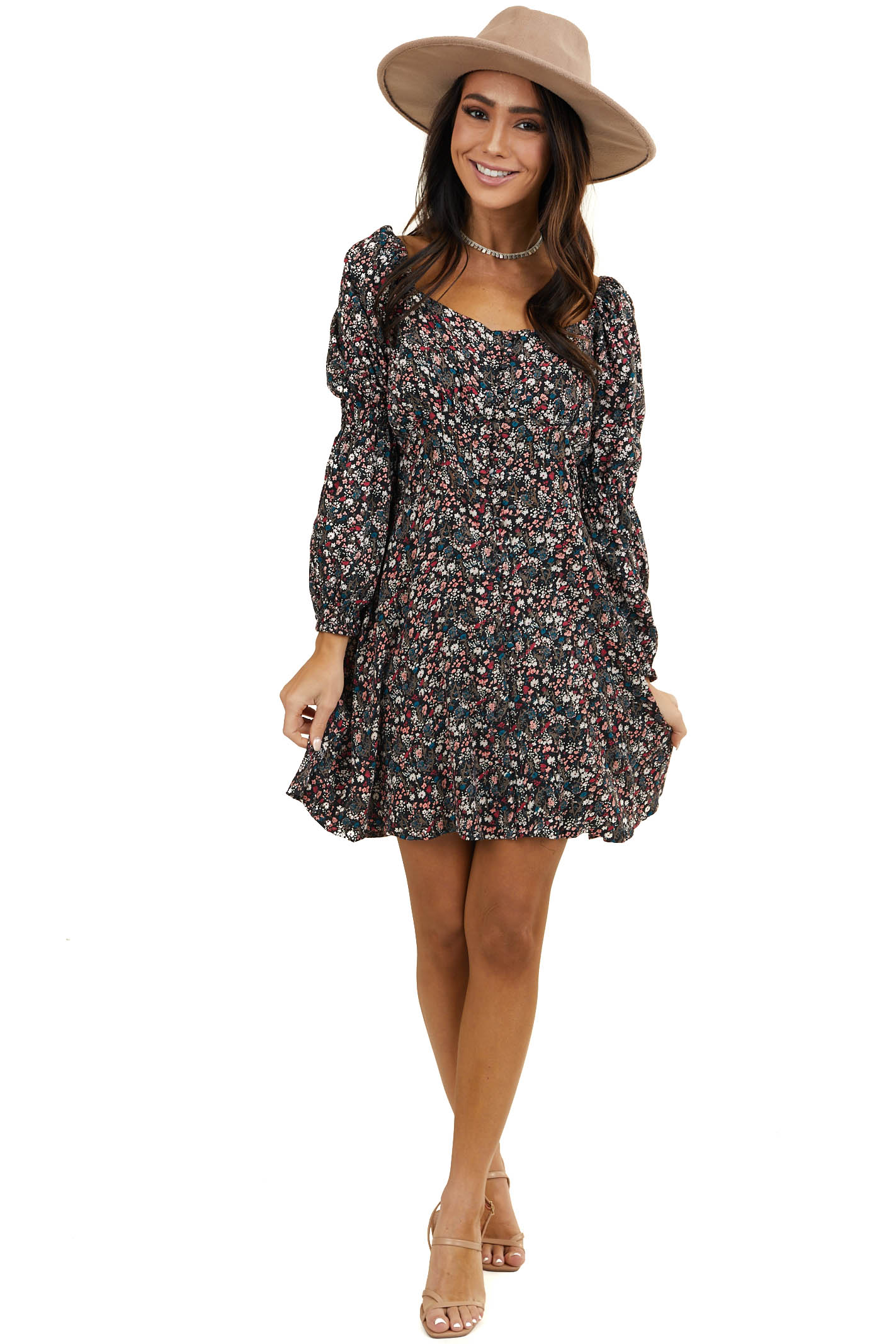 Jet Black Floral Button Up Mini Dress with Bubble Sleeves