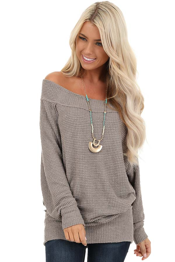 Taupe Off Shoulder Long Sleeve Waffle Knit Top front close up