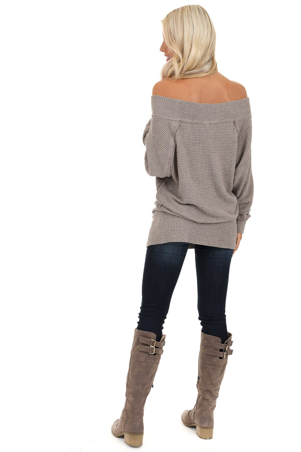 Taupe Off Shoulder Long Sleeve Waffle Knit Top back full body