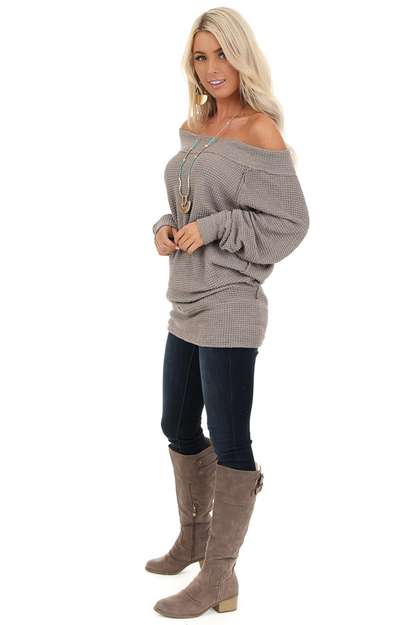 Taupe Off Shoulder Long Sleeve Waffle Knit Top side full body