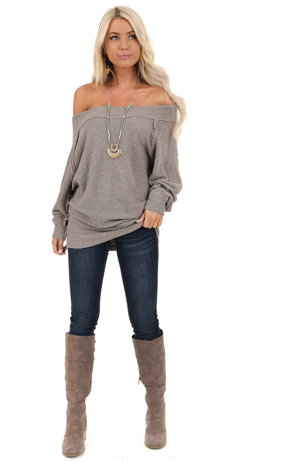Taupe Off Shoulder Long Sleeve Waffle Knit Top front full body