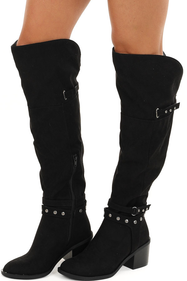 Midnight Black Tall Heeled Boots with Studded Details side view