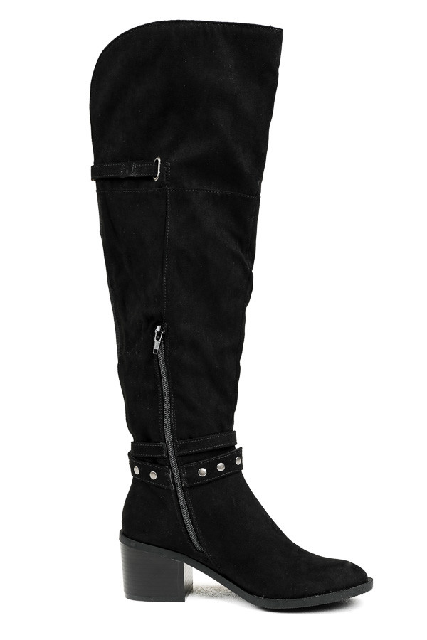 Midnight Black Tall Heeled Boots with Studded Details