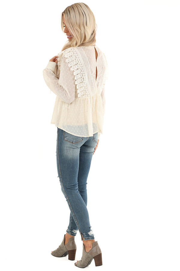 Cream Sheer Swiss Dot Long Sleeve Blouse with Lace Details side full body