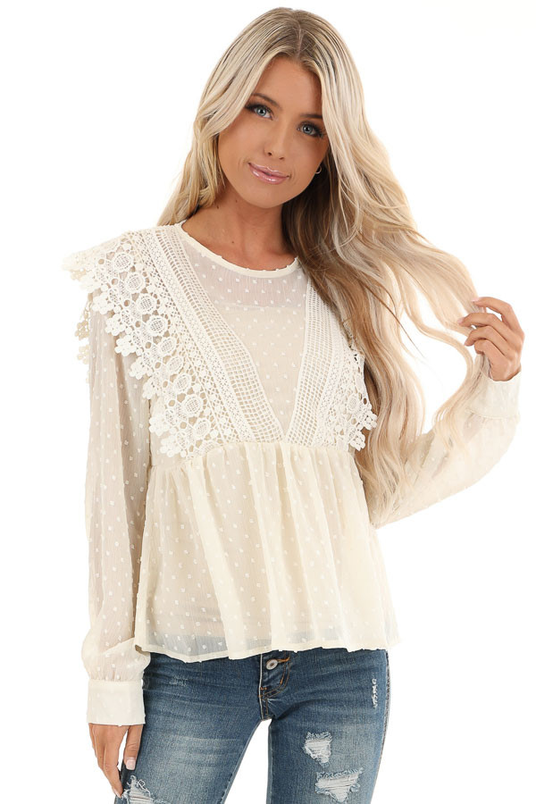 Cream Sheer Swiss Dot Long Sleeve Blouse with Lace Details front close up