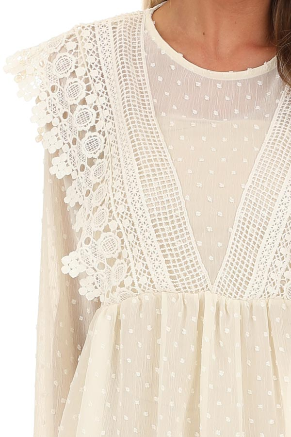 Cream Sheer Swiss Dot Long Sleeve Blouse with Lace Details detail