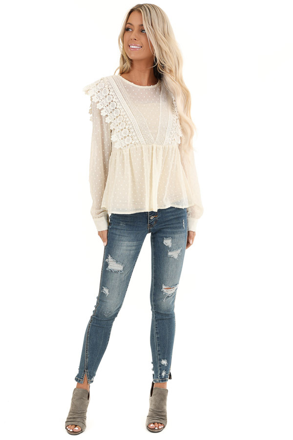 Cream Sheer Swiss Dot Long Sleeve Blouse with Lace Details front full body