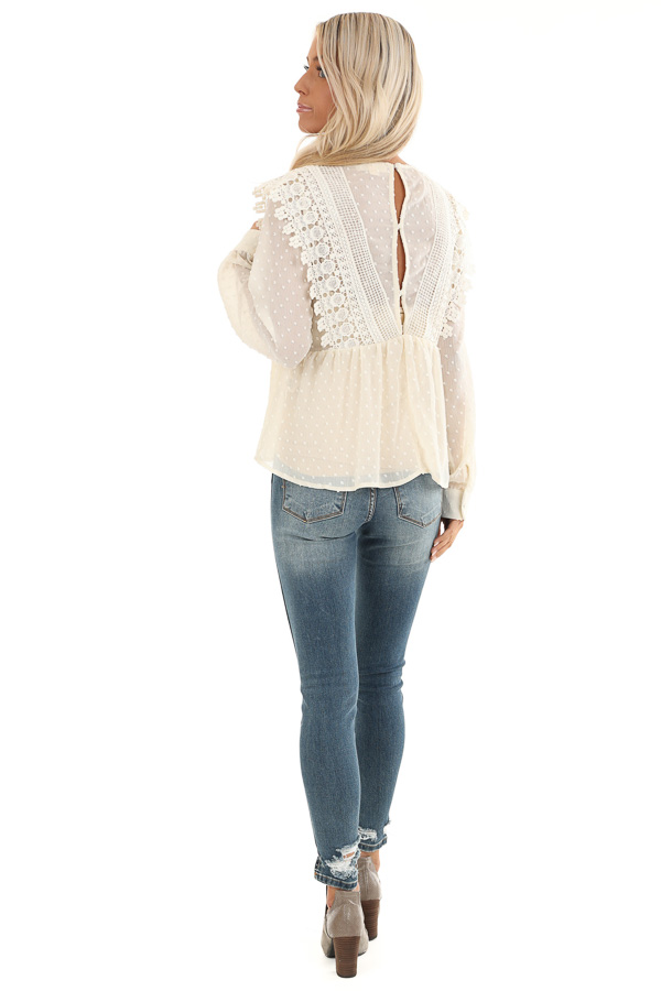 Cream Sheer Swiss Dot Long Sleeve Blouse with Lace Details back full body