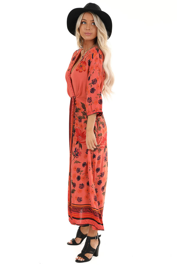 Coral Floral Print Wrap Midi Dress with Button Closures side full body