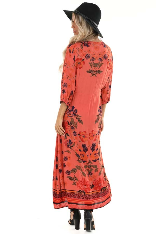 Coral Floral Print Wrap Midi Dress with Button Closures back full body