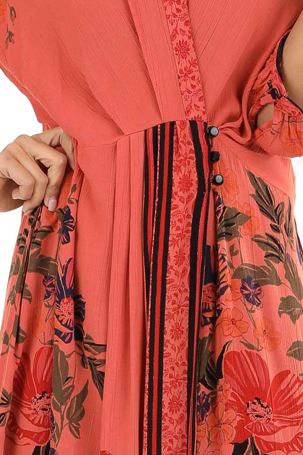Coral Floral Print Wrap Midi Dress with Button Closures detail