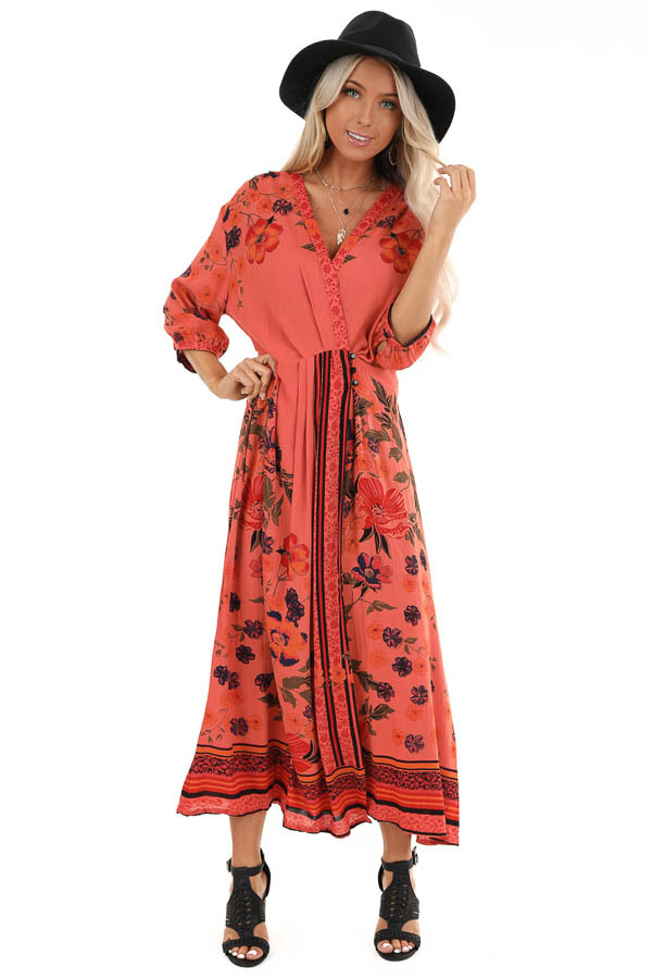 Coral Floral Print Wrap Midi Dress with Button Closures front full body