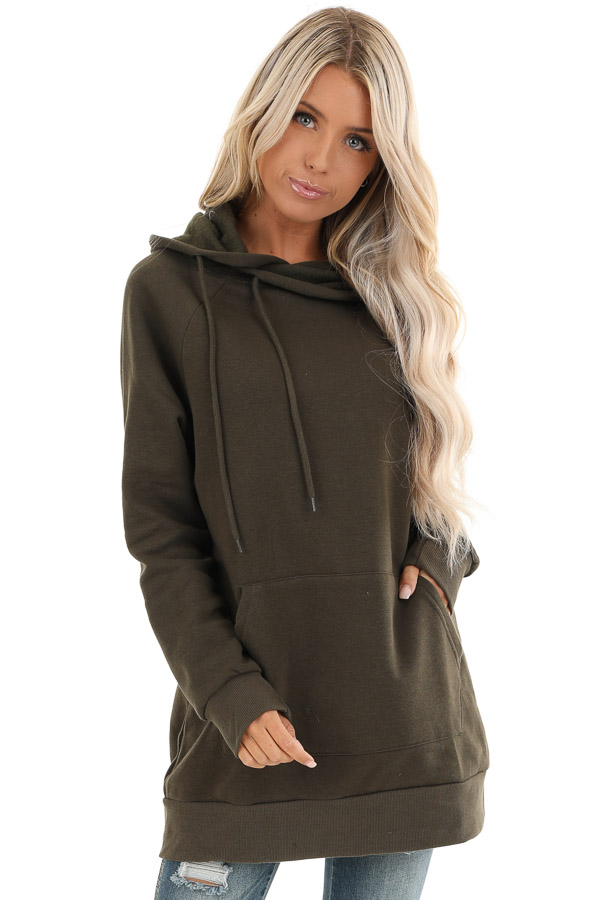 Dark Olive Oversized Hoodie with Kangaroo Pocket front close up