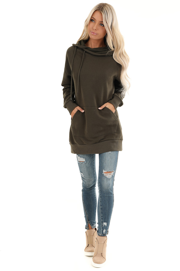 Dark Olive Oversized Hoodie with Kangaroo Pocket front full body