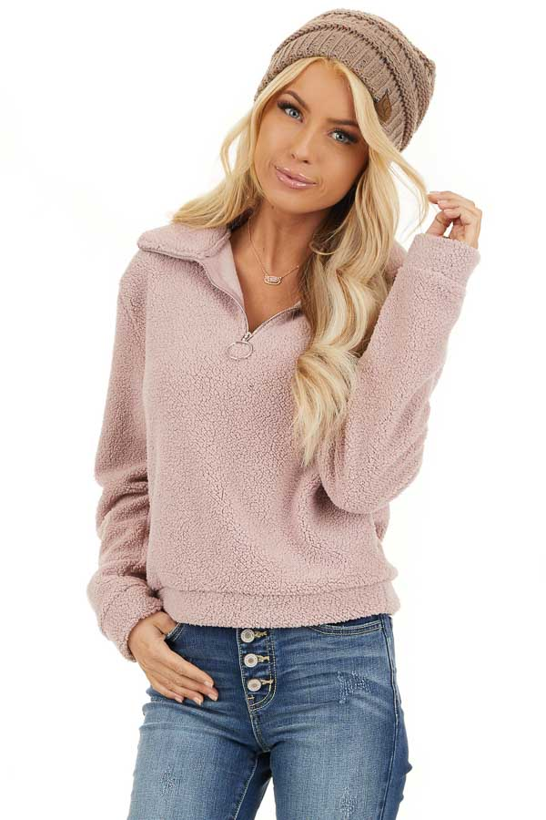 Dusty Pink Zip Up Neck Sherpa Pullover Long Sleeve Top front close up
