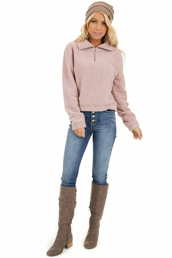 Dusty Pink Zip Up Neck Sherpa Pullover Long Sleeve Top front full body