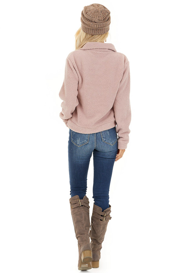 Dusty Pink Zip Up Neck Sherpa Pullover Long Sleeve Top back full body