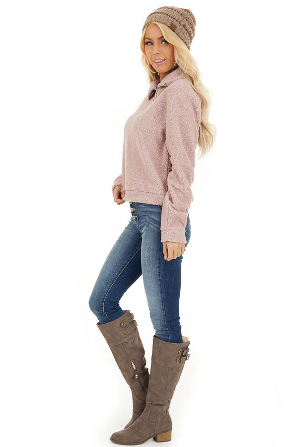 Dusty Pink Zip Up Neck Sherpa Pullover Long Sleeve Top side full body