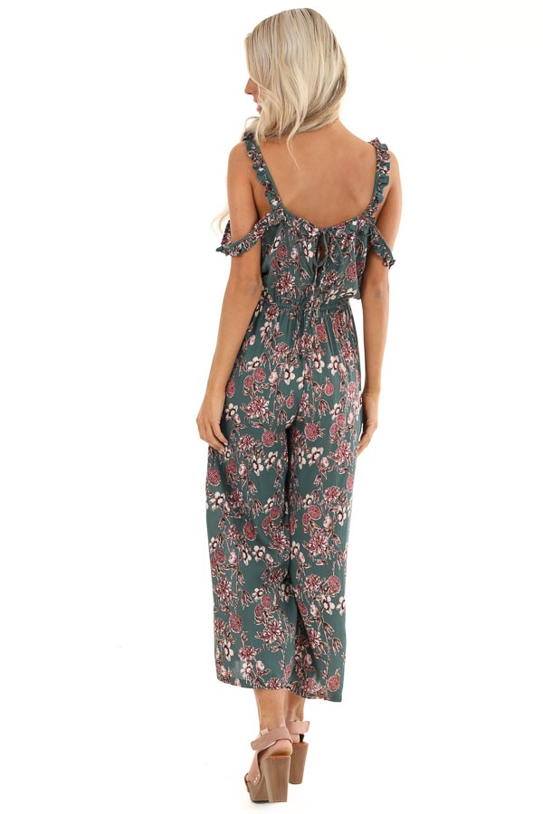 Teal Floral Print Jumpsuit with Double Ruffled Straps back full body