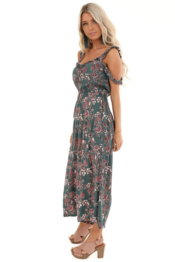 Teal Floral Print Jumpsuit with Double Ruffled Straps side full body