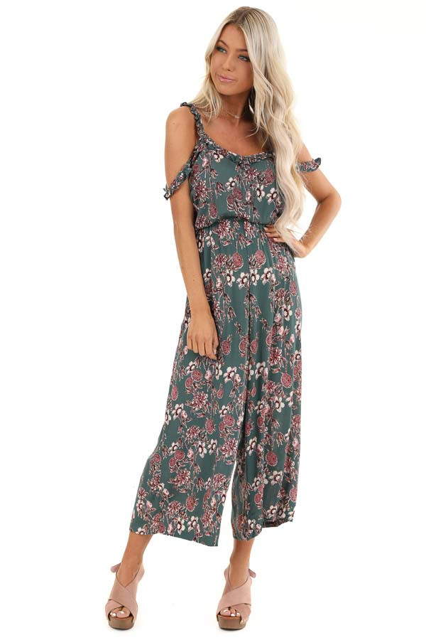 Teal Floral Print Jumpsuit with Double Ruffled Straps front full body