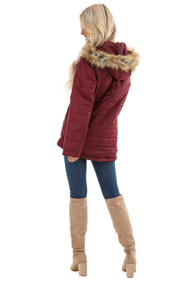 Maroon Puffy Coat with Fur Lined Hood back full body