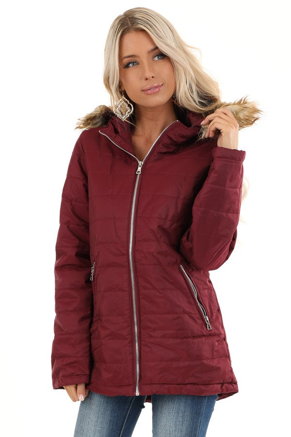 Maroon Puffy Coat with Fur Lined Hood front close up