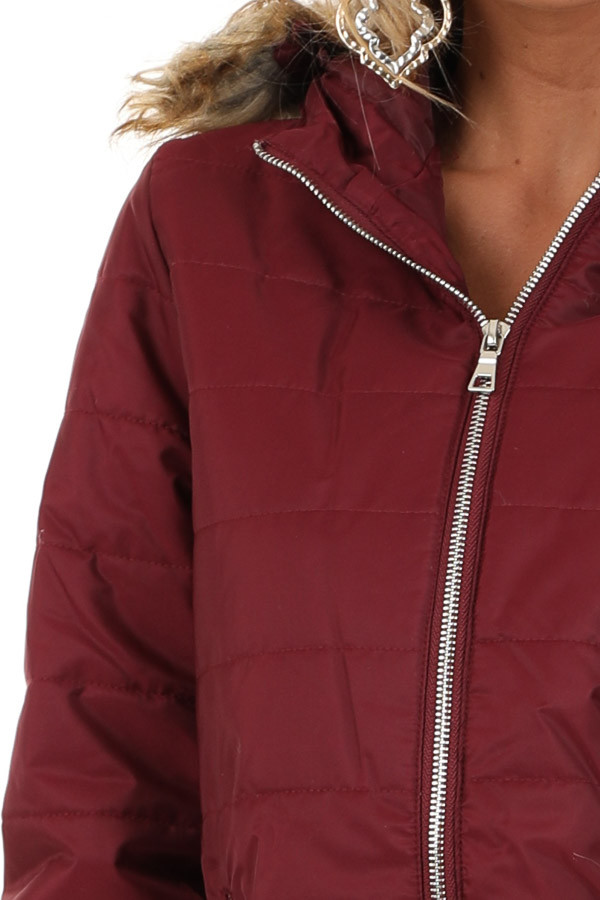 Maroon Puffy Coat with Fur Lined Hood detail