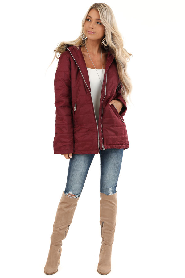 Maroon Puffy Coat with Fur Lined Hood front full body