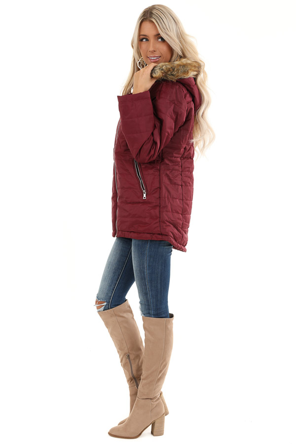 Maroon Puffy Coat with Fur Lined Hood side full body