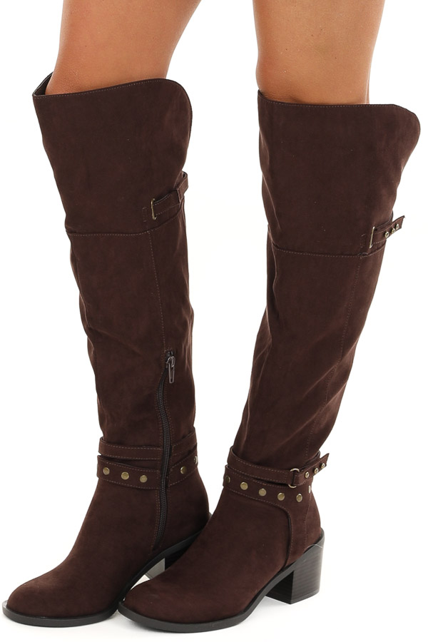 Chocolate Brown Tall Heeled Boots with Studded Details side view