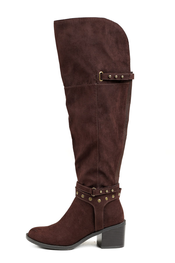 Chocolate Brown Tall Heeled Boots with Studded Details