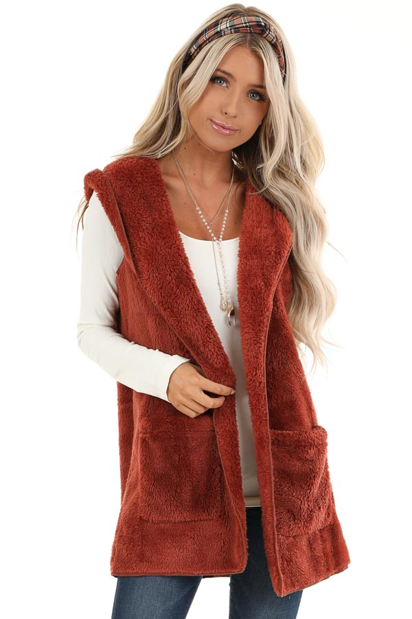 Rust Fluffy Hooded Open Front Vest with Pockets front close up