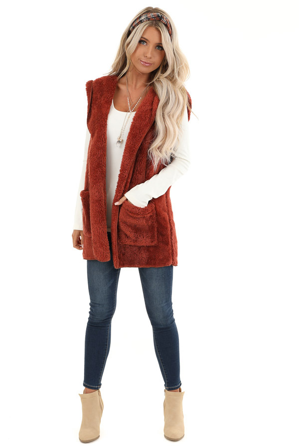 Rust Fluffy Hooded Open Front Vest with Pockets front full body