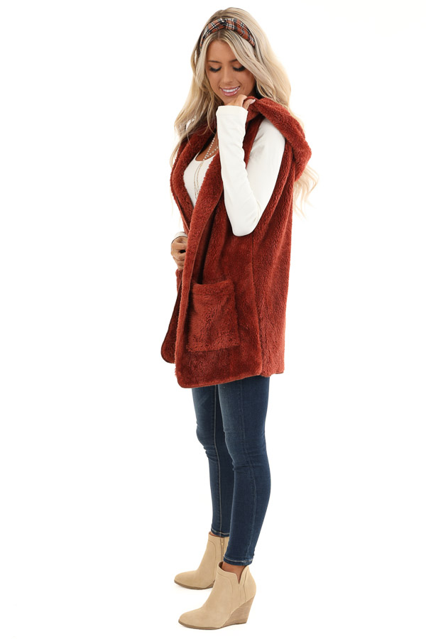 Rust Fluffy Hooded Open Front Vest with Pockets side full body