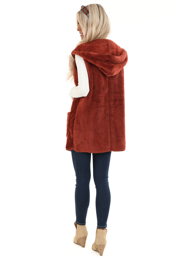 Rust Fluffy Hooded Open Front Vest with Pockets back full body