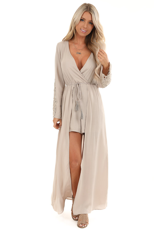 Light Taupe Long Sleeve Romper with Maxi Overlay front full body