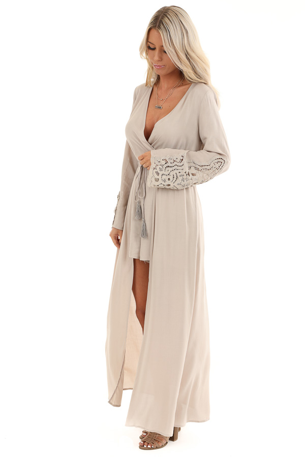 Light Taupe Long Sleeve Romper with Maxi Overlay side full body