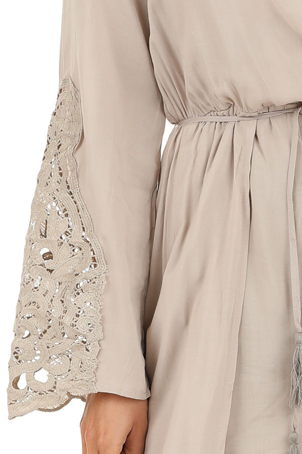 Light Taupe Long Sleeve Romper with Maxi Overlay detail