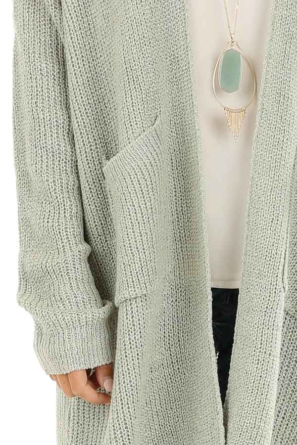 Sage Long Sleeve Knit Cardigan with Front Pockets detail