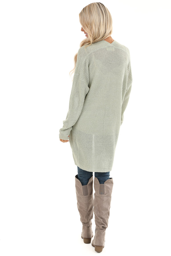 Sage Long Sleeve Knit Cardigan with Front Pockets back full body