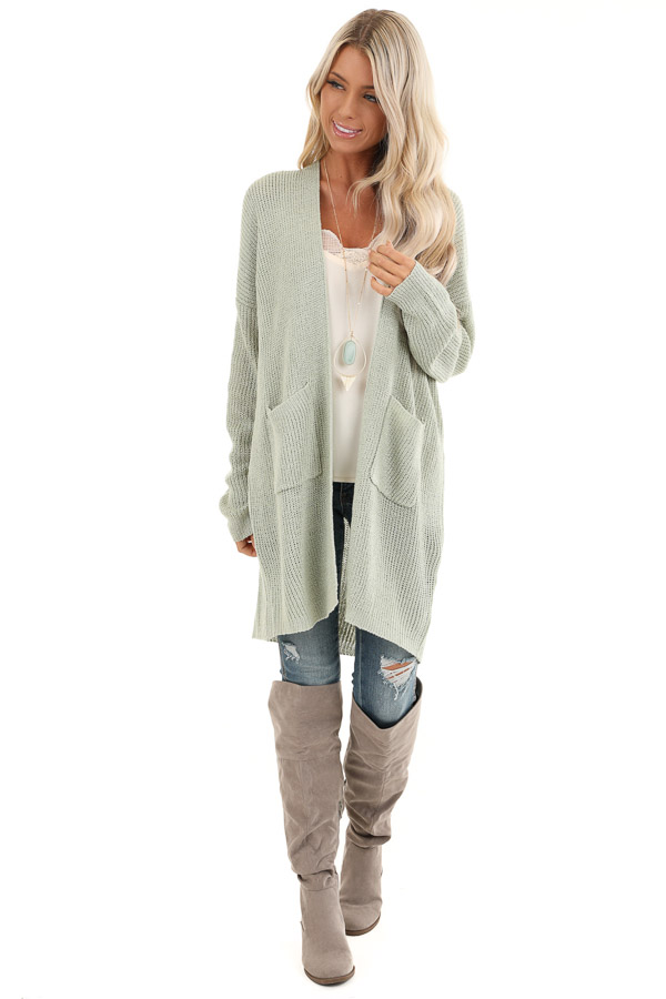 Sage Long Sleeve Knit Cardigan with Front Pockets front full body