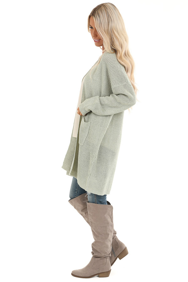 Sage Long Sleeve Knit Cardigan with Front Pockets side full body