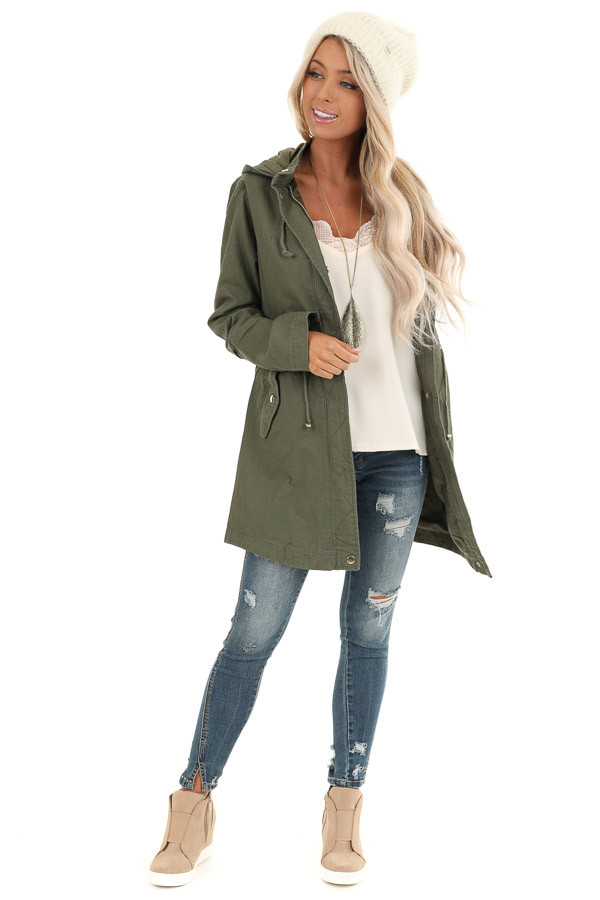 Olive Hooded Coat with Cinch Waist and Gold Details front full body