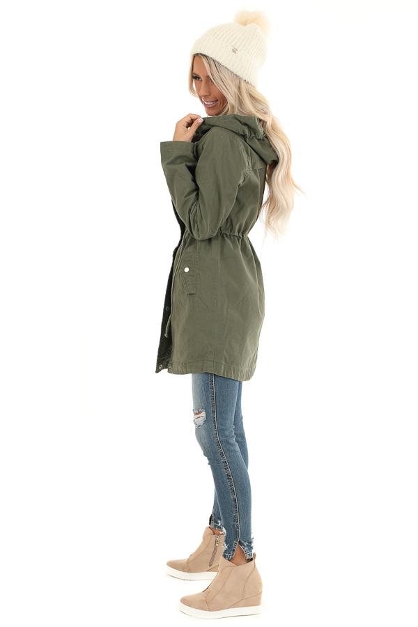 Olive Hooded Coat with Cinch Waist and Gold Details side full body