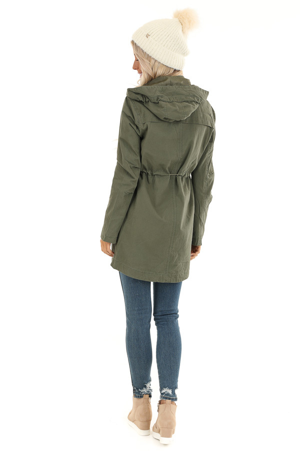 Olive Hooded Coat with Cinch Waist and Gold Details back full body